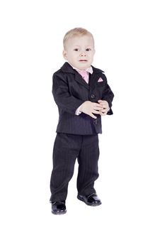 Free Crying Little Boy In Classic Suite Stock Photography - 8739232