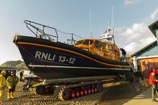 Free RNLB Cosandra, A Shannon Class Lifeboat, Visits Hastings Lifeboat Station. Royalty Free Stock Photography - 87312987