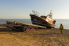 Free RNLB Cosandra, A Shannon Class Lifeboat, Visits Hastings Lifeboat Station. Stock Images - 87313074