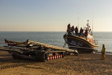 Free RNLB Cosandra, A Shannon Class Lifeboat, Visits Hastings Lifeboat Station. Royalty Free Stock Photo - 87313145