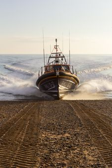 Free RNLB Cosandra, A Shannon Class Lifeboat, Visits Hastings Lifeboat Station. Royalty Free Stock Photography - 87313197