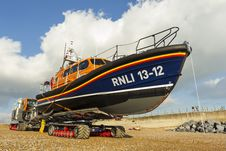 Free RNLB Cosandra, A Shannon Class Lifeboat, Visits Hastings Lifeboat Station. Royalty Free Stock Image - 87313356