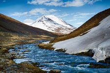Free Stream Flowing Beside Hills With View Of Alpine Mountain Under Blue Sky And White Clouds Royalty Free Stock Photography - 87314887