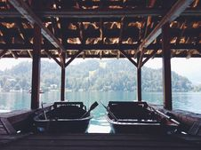 Free Two Boats Inside A Boathouse Royalty Free Stock Photos - 87317528