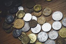 Free Close-up Of Coins On Table Stock Images - 87321194