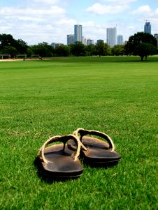 Free Sandals On Grass Stock Photos - 87381183