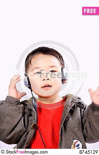 Boy with earphone Stock Photo
