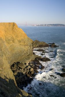 California Coastline With Golden Gate Bridge Stock Photos