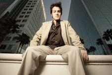 Free Businessman Sitting On A Ledge Royalty Free Stock Image - 8741366