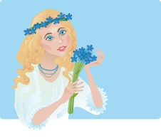 A Girl Is In The Chaplet Of Corn-flowers Stock Photography
