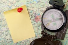 Free Compass On Modern Map Stock Photo - 8743410