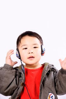 Boy With Earphone Royalty Free Stock Images