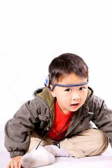 Free Boy With Earphone Royalty Free Stock Photography - 8745227