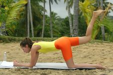 Free Workout Exercises On The Beach Stock Photos - 8746273