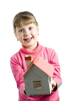 Girl With House Royalty Free Stock Images