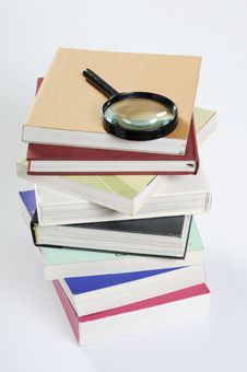 Free Magnifier & Books Stock Photography - 8746822