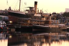Free Vintage Ferrys And Tug Retired At Their Moorings. Royalty Free Stock Images - 8746869