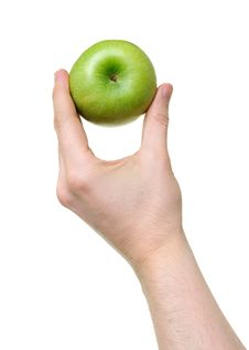 Hand Holding Green Apple Royalty Free Stock Image