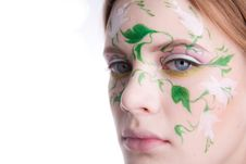 Free Beautiful Blondy With A Flower Tattoo On Her Face Stock Photography - 8747392