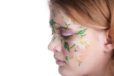 Free Beautiful Blondy With A Flower Tattoo On Her Fac Royalty Free Stock Images - 8747489