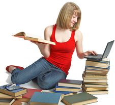 Beauty Schoolgirl With Book Royalty Free Stock Photo