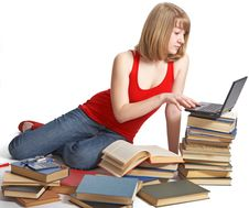 Beauty Schoolgirl With Book Royalty Free Stock Image
