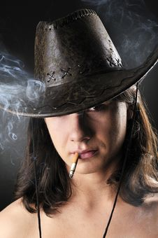 Free Sexy Smoker Cowboy Royalty Free Stock Photography - 8749337