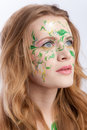 Free Beautiful Blondy With A Flower Tattoo On Her Face Royalty Free Stock Image - 8751376
