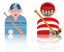 Free People Icons Baseball And Hockey Stock Photo - 8750100