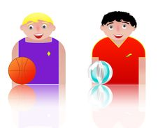People Icons Basket And Volleyball Royalty Free Stock Photos