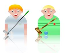 People Icons Golf And Cricket Royalty Free Stock Image