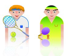 Free People Icons Tennis And Ping Pong Stock Photo - 8750180
