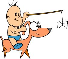 Baby Riding On Dog Royalty Free Stock Photo