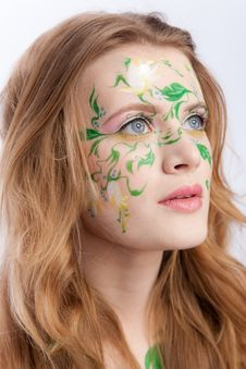 Beautiful Blondy With A Flower Tattoo On Her Face Royalty Free Stock Image