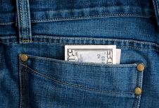 Free Dollar In Jeans Royalty Free Stock Photography - 8751927
