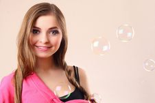 Woman With Bubbles Stock Photography
