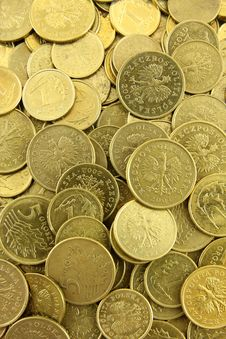 Polish Coins Background Stock Images