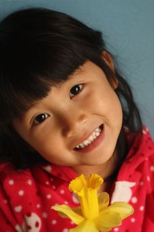 Free Asian Girl With Flower Royalty Free Stock Image - 8752496