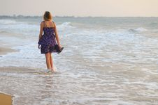 Free Beautiful Young Blond Girl Walking On Beach Royalty Free Stock Photos - 8752638