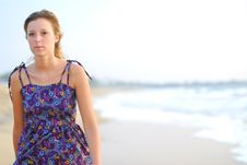 Free Beautiful Young Blond Girl Walking On Beach Royalty Free Stock Images - 8753059