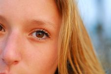 Face Of Beautiful Young Blond Girl Stock Photo