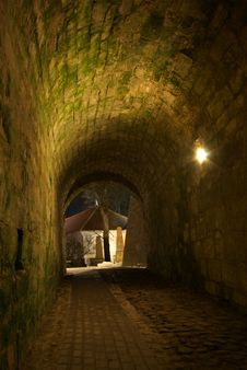 Free Nighttime Archway To Kuressaare Castle Yard Royalty Free Stock Photo - 8754255
