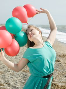 Free Girl With Balloons Stock Image - 8754871