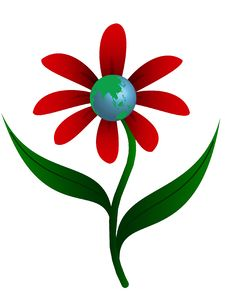 Free Red Flower With Planet Stock Photos - 8755103