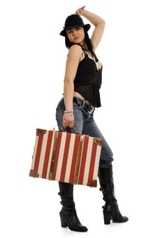 Free Woman With Suitcase Royalty Free Stock Image - 8755866