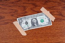 Free One Dollar On Wood Panel Royalty Free Stock Image - 8756136