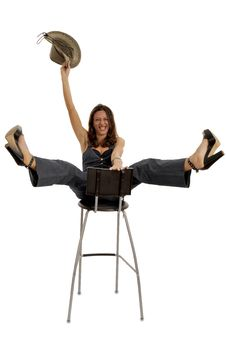 Free Cow-girl Riding A Stool Royalty Free Stock Images - 8756189