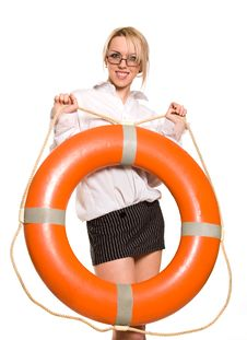 Free Businesswoman With Red Life Buoy Stock Images - 8756504