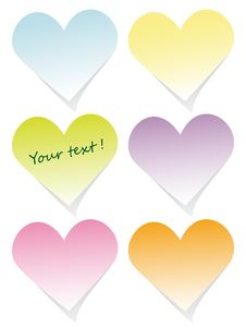 Colorful Heart Post-it Set Stock Images