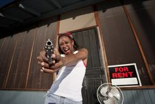 Free Woman With Gun Stock Photography - 8756602